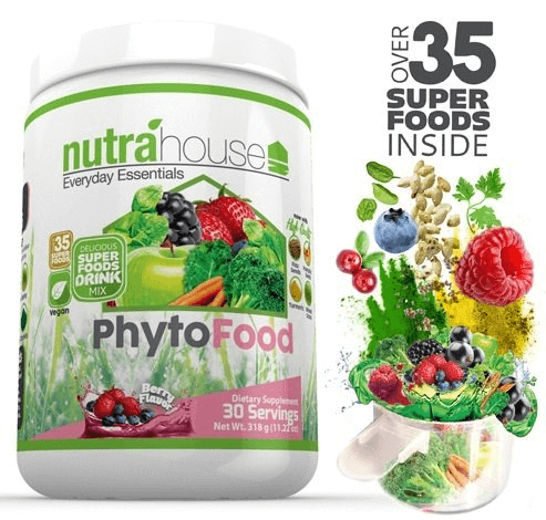 PhytoFood 30-day supply with over 35 superfoods inside including spirulina, chlorella, bamboo, chia, wheatgrass, turmeric, flax seeds, and more!