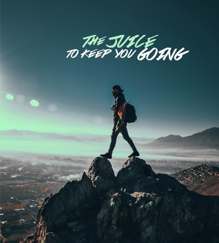 man climbing hiking a mountain after juicing in the morning