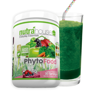 A glass of PhytoFood greens juice used to improve nutrition and immunity
